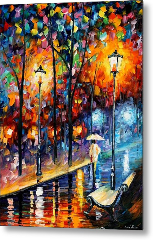 Afremov Metal Print featuring the painting Warm Winter by Leonid Afremov