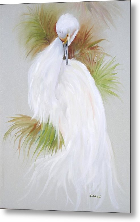 Animal Metal Print featuring the painting White Egret by Sherry Winkler