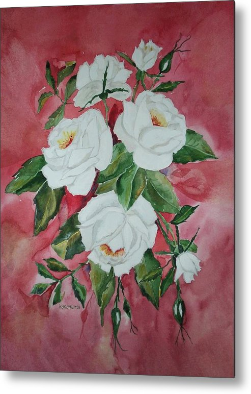 Roses Flowers Metal Print featuring the painting White Roses by Irenemaria Amoroso