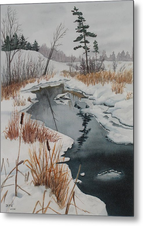 Winter Metal Print featuring the painting Winter Reflection by Debbie Homewood
