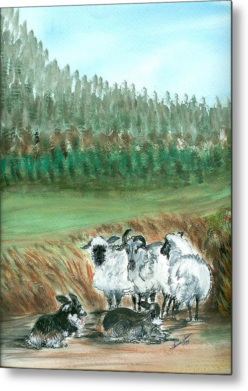 Dogs And Sheep Metal Print featuring the painting Working Girls by Laura Johnson
