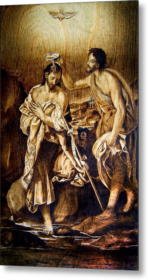 Dino Muradian Metal Print featuring the pyrography Baptism Of Christ by Dino Muradian