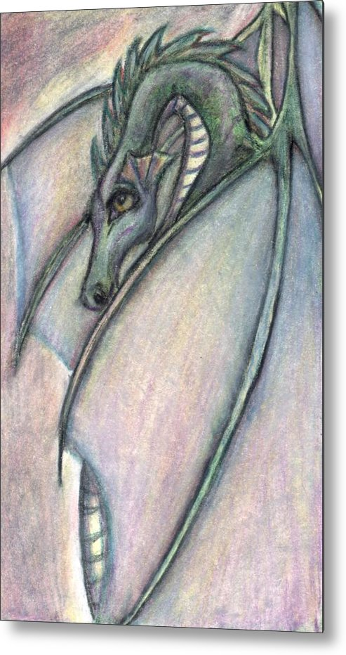 Dragon Metal Print featuring the drawing Protective Mother by Jennifer Skalecke