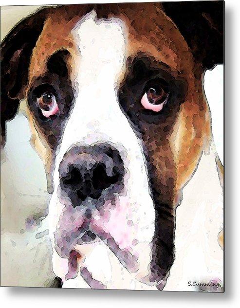 Boxer Metal Print featuring the painting Boxer Art - Sad Eyes by Sharon Cummings