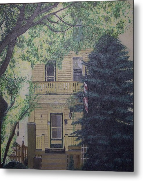House Landscape Milwaukee Wi Metal Print featuring the painting East-side Living by Sally Van Driest