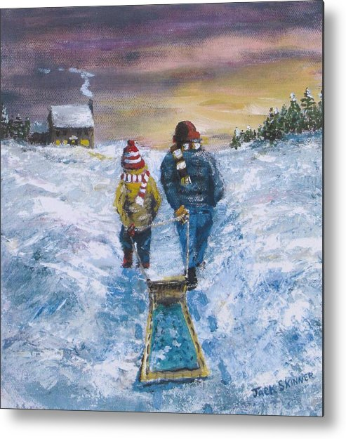 Snow Metal Print featuring the painting End Of The Day by Jack Skinner