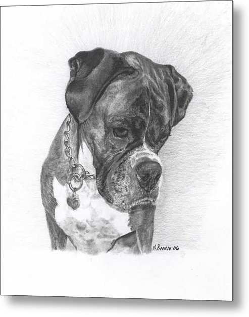 My Boxer Metal Print featuring the drawing Tyson by Marlene Piccolin