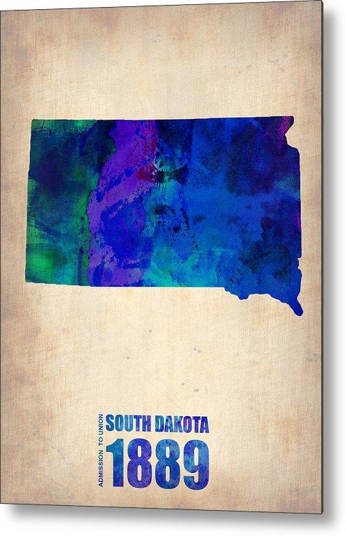 South Dakota Metal Print featuring the painting South Carolina Watercolor Map by Naxart Studio