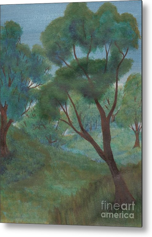 Watercolor Metal Print featuring the painting A Thought Of Summer by Robert Meszaros