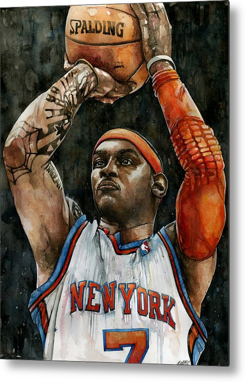 Carmelo Metal Print featuring the painting Carmelo Anthony by Michael Pattison