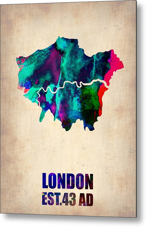 London Metal Print featuring the painting London Watercolor Map 2 by Naxart Studio