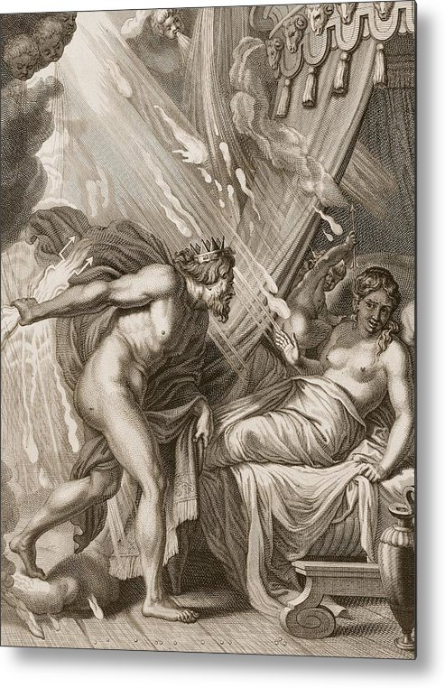 Jupiter Metal Print featuring the drawing Semele Is Consumed By Jupiters Fire by Bernard Picart