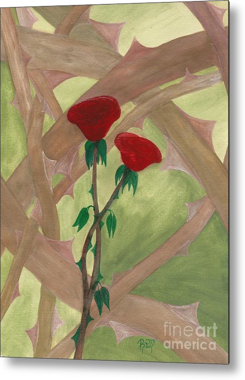 Roses Metal Print featuring the painting Something Simple by Robert Meszaros