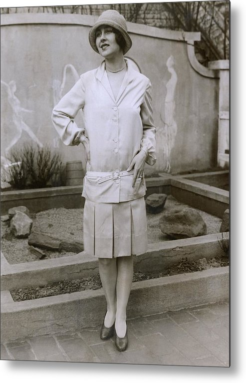 History Metal Print featuring the photograph 1927 Suit With A Mid-knee Pleated Skirt by Everett