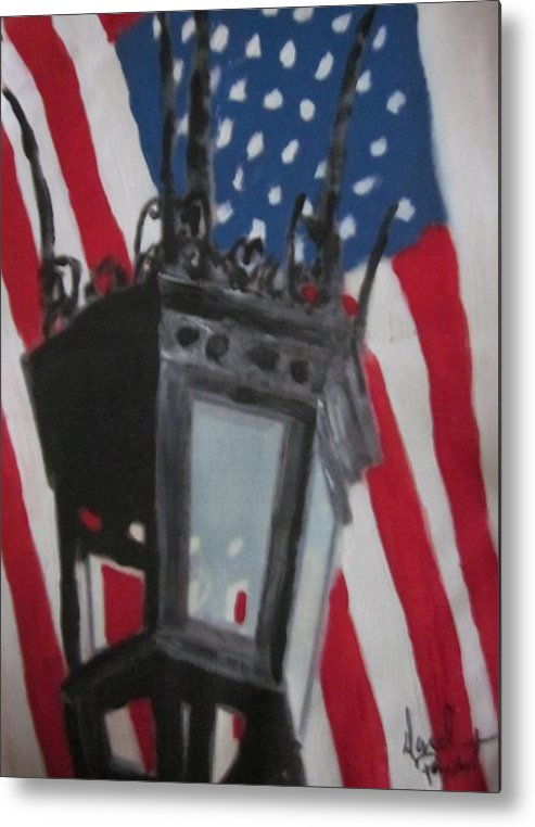 Boston Metal Print featuring the painting Boston Lightpost by David Poyant