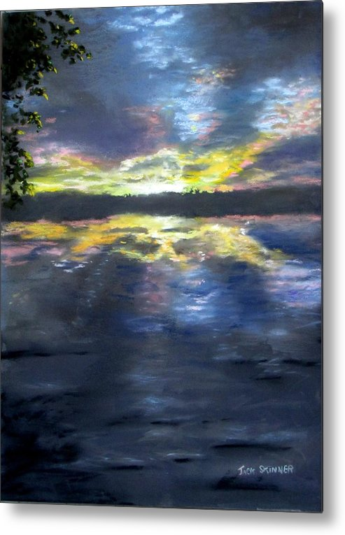 Sunset Metal Print featuring the painting Sunset Over Mystic Lakes by Jack Skinner