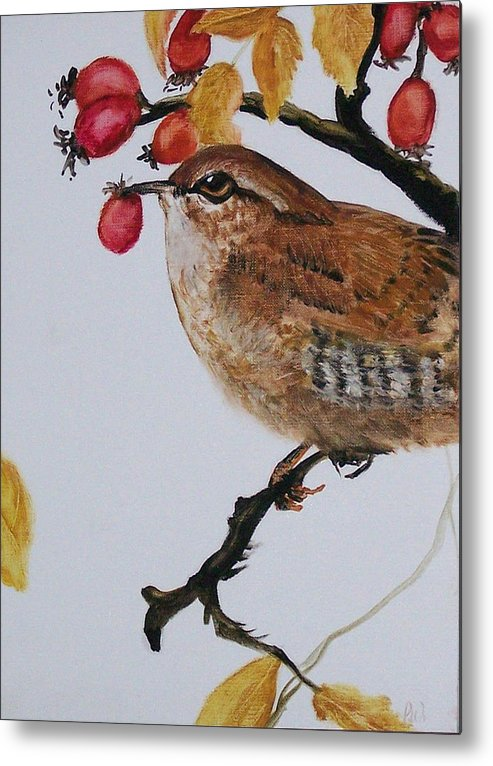 Painting Metal Print featuring the painting  Wren by Pamela Wilson