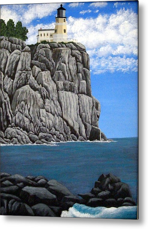 Lighthouse Paintings Metal Print featuring the painting Split Rock Lighthouse by Frederic Kohli