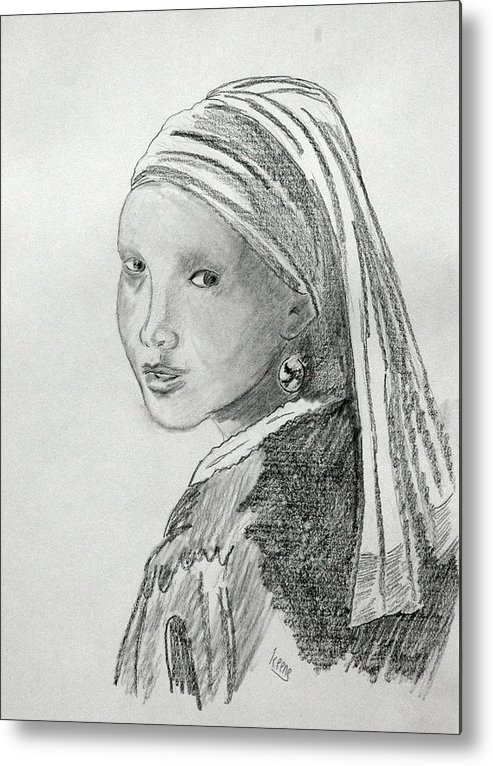 Metal Print featuring the drawing A Girl With A Pearl Earring After Vermeer by David Keene