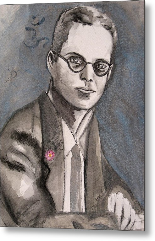 Aldous Brave Darkestartist Huxley New Painting Portrait Watercolor Watercolour World Metal Print featuring the painting Aldous Huxley by Darkest Artist