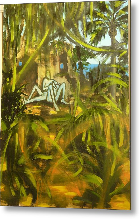 Surrealist Metal Print featuring the painting An Incomplete Picture by Zsuzsa Sedah Mathe