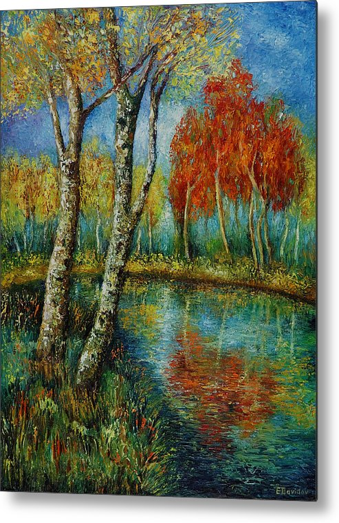 Landscape Metal Print featuring the painting Autumn Day. by Evgenia Davidov