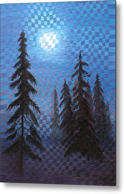 Landscape Metal Print featuring the painting Blue Moon by Linda L Doucette