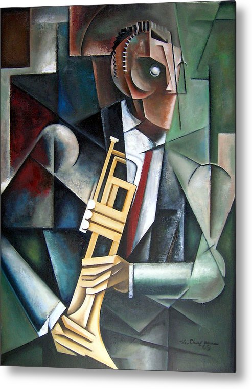 Miles Davis Jazz Trumpet Cubism Metal Print featuring the painting Changeling by Martel Chapman