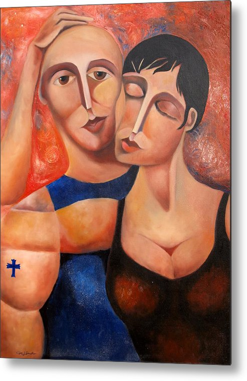 Couple Metal Print featuring the painting Cheek To Cheek by Niki Sands