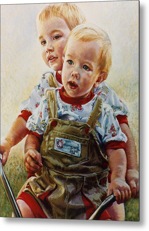 Pastel Portrait Metal Print featuring the pastel Cousins by Jean Hildebrant