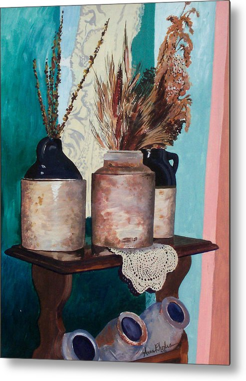 Still Life Metal Print featuring the painting Dorothy's Pots by Anne Rhodes
