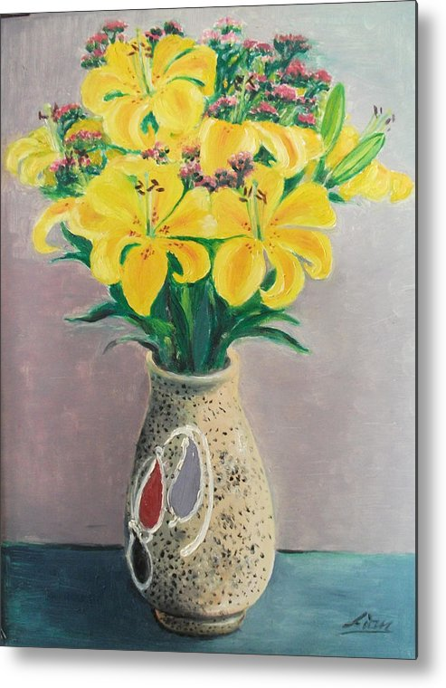Flowers Metal Print featuring the painting Dotted Vase by Lian Zhen