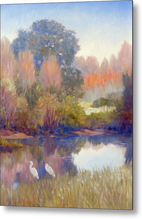 Egrets Metal Print featuring the painting Egrets by Kevin Lawrence Leveque