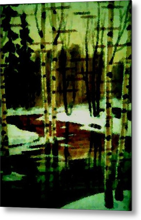 Sprig.forest.snow.water.trees.birches. Puddles.sky.reflection. Metal Print featuring the digital art European Spring by Dr Loifer Vladimir
