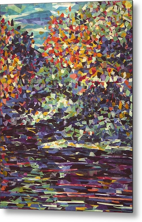 Abstract Landscape Impressionist Textile Metal Print featuring the painting Float On by Sally Van Driest