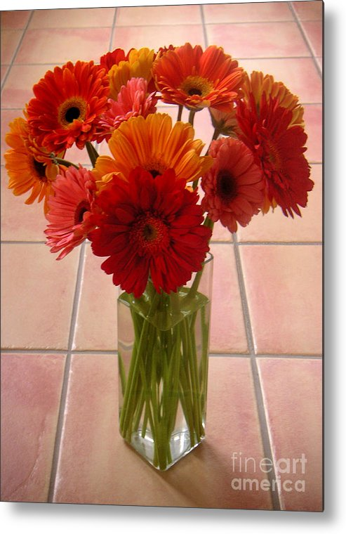 Nature Metal Print featuring the photograph Gerbera Daisies - On Tile by Lucyna A M Green