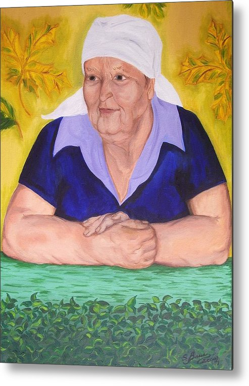 Art Metal Print featuring the painting Granny Katiya by Svetlana Vinokurtsev