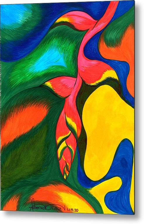 Tropical Flower Metal Print featuring the painting Heliconia Rostrata by Fanny Diaz