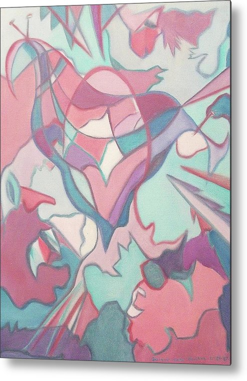 Abstract Metal Print featuring the painting Hiding by Suzanne Marie Leclair
