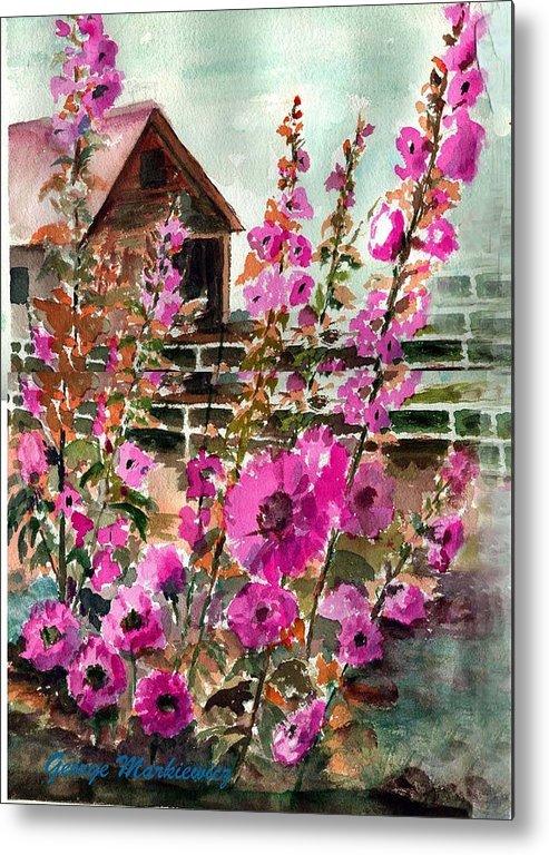 Flowers Metal Print featuring the print Hollyhock Barn by George Markiewicz