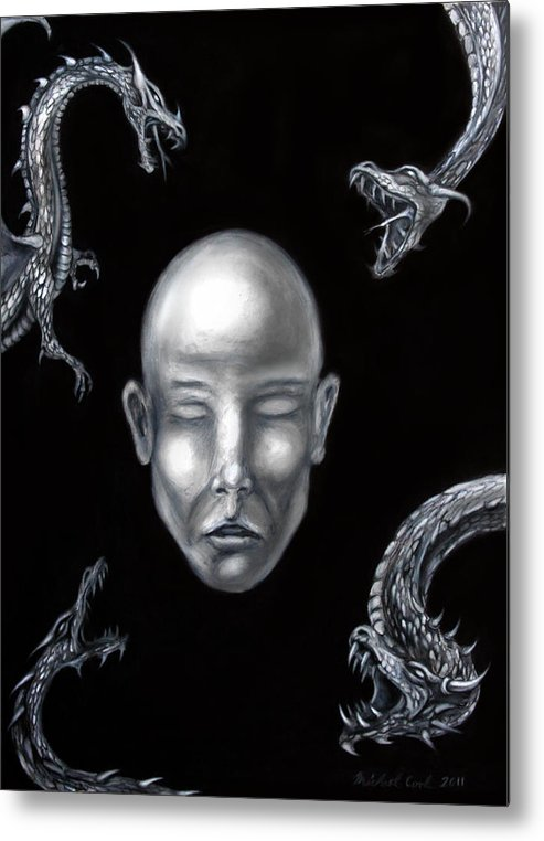 Dragons Metal Print featuring the drawing Liars In The Night by Michael Cook