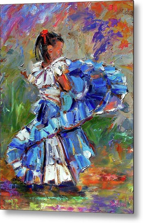 Girl Metal Print featuring the painting Little Dancer by Debra Hurd