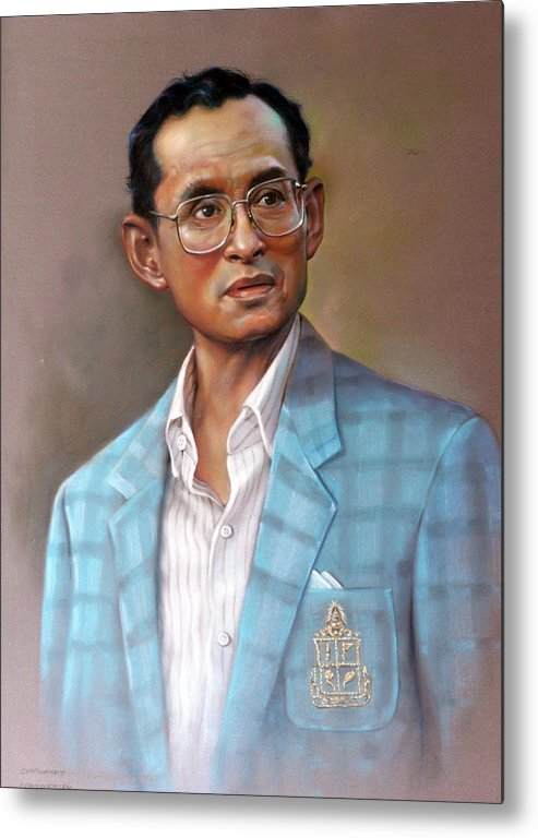 Pastel.portrait Metal Print featuring the painting Long Live The King by Chonkhet Phanwichien