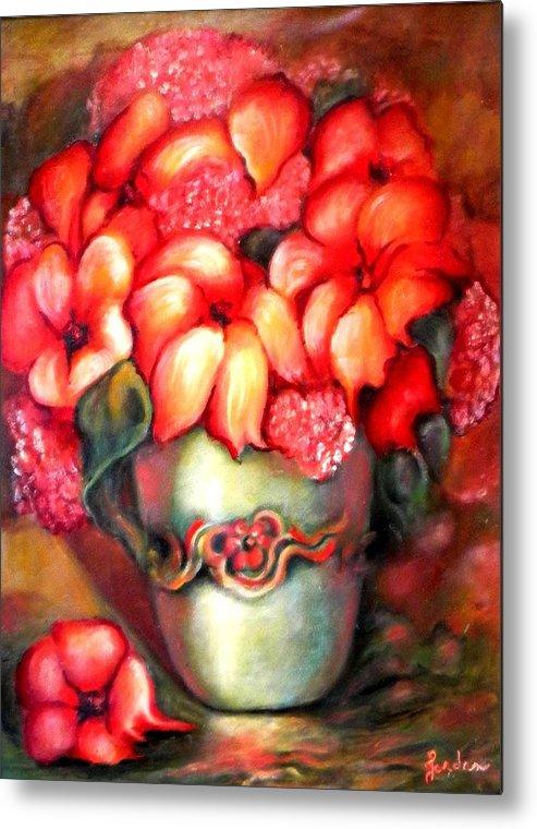 Orange Flowers Artwork Metal Print featuring the painting Mexican Flowers by Jordana Sands
