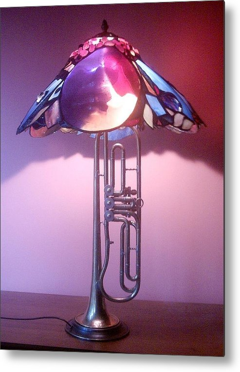 Lamp Metal Print featuring the glass art Miles Davis Lamp by Greg Gierlowski