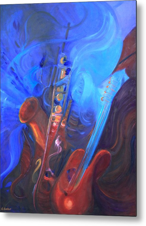 Abstract Metal Print featuring the painting Music For Saxy by Gail Salitui