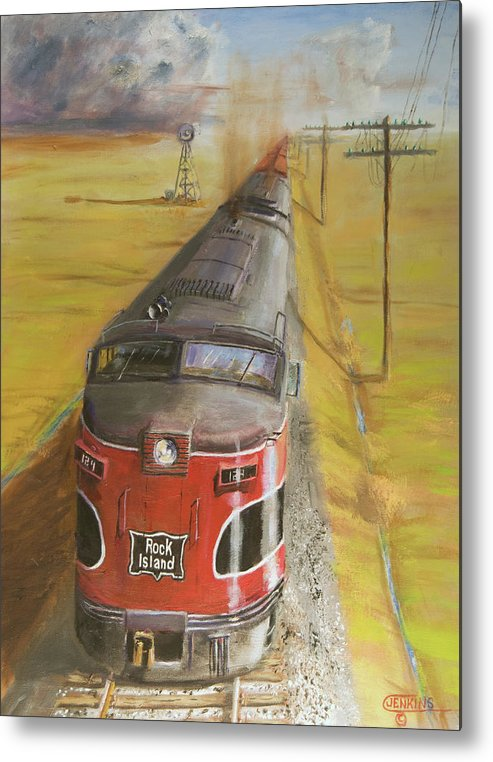 Train Metal Print featuring the painting Near Thistle Ks by Christopher Jenkins