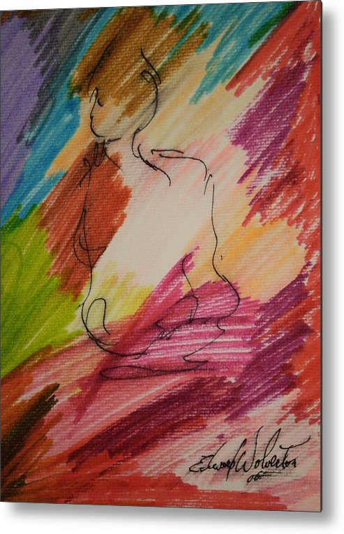 Portrait Metal Print featuring the mixed media Nude Study G by Edward Wolverton