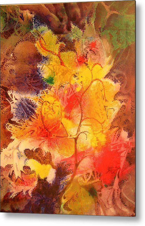 Semi-abstract Metal Print featuring the painting October Song by Bill Meeker