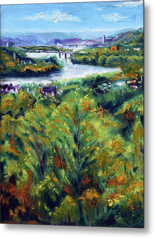 Landscape Metal Print featuring the painting Ohio River From Ayers-limestone Road by Robert Sako